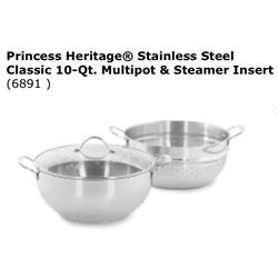 Heritage Stainless Steel Classic 10qt Multipot & Steamer Insert #6891