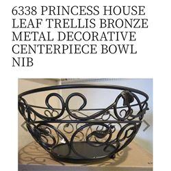 Leaf Trellis Bronze Metal Decorative Centerpiece Bowl #6338