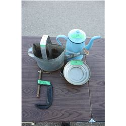 """Display Can, Blue Tea Pot, 4"""" C Clamp and Misc"""