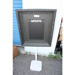 """Menu Board on Stand 22"""" W by 56"""" T (Base is 11.75"""" D)"""