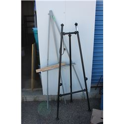 """Two Easels Wooden 65"""" T and Metal 57"""" T"""