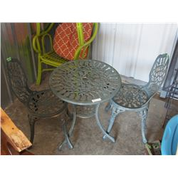 "Iron Table and 2 Chairs 24"" Diameter"
