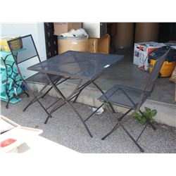 Metal Folding Grate Table and 2 Chairs 30 by 30 by 28""
