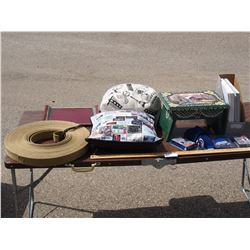 Lot of Misc Strapping, Pillows, Wooden Stools and etc.