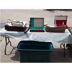 2 Jewelry Boxes with Contents and Misc (Plastic Tub has Crack in Bottom)