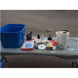 Misc Kitchenware (Motor and Pestle) Plus Misc and Plastic Tote