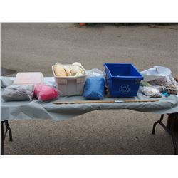 Wool Related Items with Plastic Tote, Beadwork and Jewelry