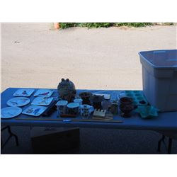 Lot of Decorative Items with Plastic Tote