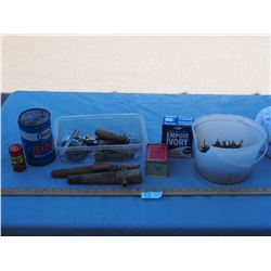 Vintage Square Nails, Esso Oil Can (Full), Vintage Wooden Tools and Misc