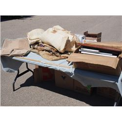 Gunny Sacks and Box of Picture Frames