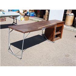 "Wooden Cabinet (26 by 18 by 29"" T) and Metal Folding Table"