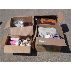 2 Boxes of Leather Material, 1 Box of Kitchenware and 1 Box of Craft Supplies