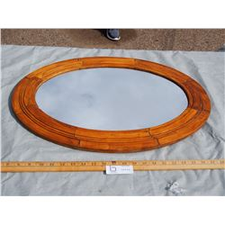 "Oval Hanging Wooden Frame Mirror 18"" by 24"" L"