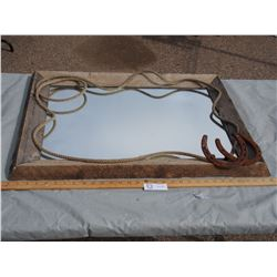 Mirror with Wooden Decorative Frame 30.5 by 22""