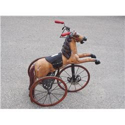 "Late 1800s Kids Wooden Horse Tricycle 34"" T by 30"" L (Leather Strap Broken)"