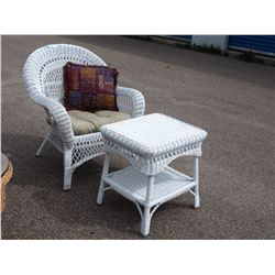 "White Wicker Chair 36"" and Stand 22.5"" T"