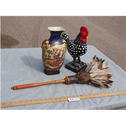 Ceramic Vase, Chicken Figure and Feather Duster