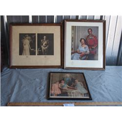 3 Vintage Pictures in Frames
