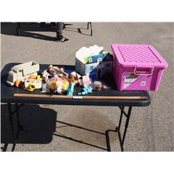 Mixed Lot of Kids Toys and Kids Toy Furniture with Plastic Tote