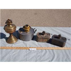 4 Vintage Lamps (No Chimneys)