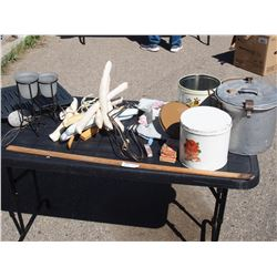 Misc Lot of Canisters, Clothes Hangers and etc.