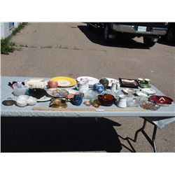 Misc Lot of Glassware, Ashtrays, Wade Dinner Plate and etc.