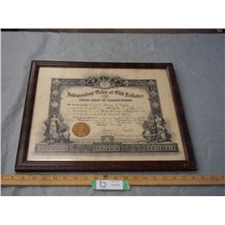 Odd Fellows 1913 Framed Picture 18.75 by 15.75""