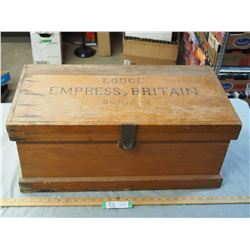 "Wooden Hand Made Tool Chest Lodge Empress Britain 25 by 12.5"" (Made in England)"