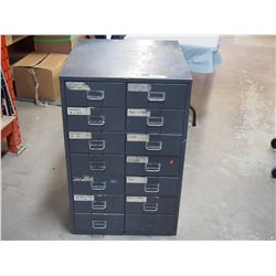 Metal 14 Drawer Filing Cabinet 23 by 25 by 37.5""