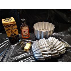 Vintage Food Coloring including Dandelion Brand (in box), Flavoring, and set of Metal Fluted Pans