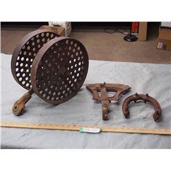 Vintage Horse Shoe, Vintage Seeder Gauge and Vintage Wheels