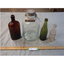4 Vintage Glass Bottles