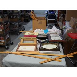 Mixed Lot of Picture Frames and Stretched Bars