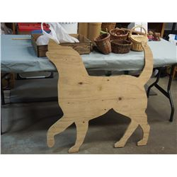 """Wooden Dog Cut Out 36"""" T, Vintage Wooden Wicker Baskets, Vintage Wooden Legs and Misc"""
