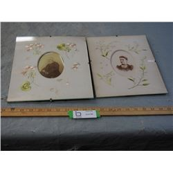 """2 Vintage Photos in Stitched Frames (9x11"""" and 10x11.5"""")"""