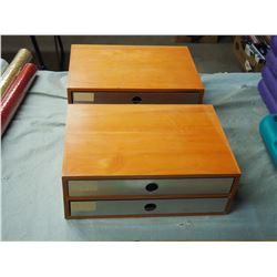 "2 Wooden 2 Drawer Storage Cabinet 14 by 9.5"""