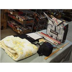 Misc Items, Gift Wrap, Clothes Hangers, Notebook, Blanket etc with Plastic Tote