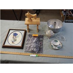 Misc Items, Wooden Sewing Machine, Dishware and Stitched Picture in Frame