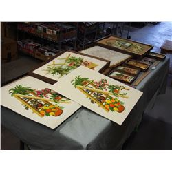 Stitched Artwork in Frames and Misc Picture Frames