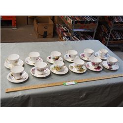 Windsor Bone China made in England Vintage Tea Cups and Saucers (Set of 12)