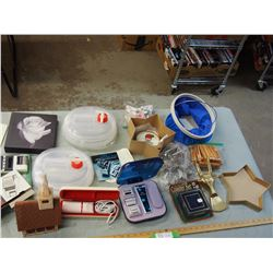 Misc Lot of Ice Bucket, Clothes Pins, Cookie Cutters, and etc.