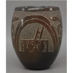 SANTA CLARA INDIAN POTTERY JAR (CORN MOQUINO)