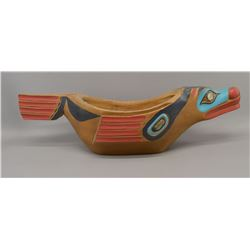 CHEROKEE INDIAN WOODEN GREASE BOWL (IVAN OTTERLIFTER)