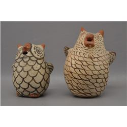 ZUNI INDIAN POTTERY OWLS (JOSEPHINE NAHOHIA)