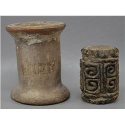 PRE-COLUMBIAN POTTERY STAMP AND SPOOL