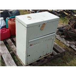 """Metal Storage Cabinet with Contents, Locks and Wire Brush Discs 12 by 22 by 28"""""""