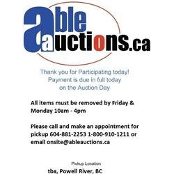 ALL ITEMS MUST BE REMOVED BY FRIDAY AND MONDAY 10AM - 4:30PM