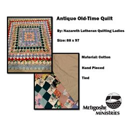 Antique Hand-Pieced Old Time Quilt