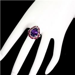 Natural Brazil  Amethyst 14x10mm & Red Ruby Ring
