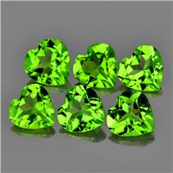 Natural Heart Peridot 6 Pcs- Flawless